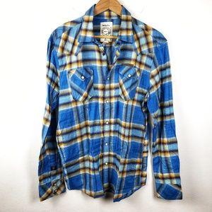 Diesel-Co.   Blue Button Down Plaid Flannel XL